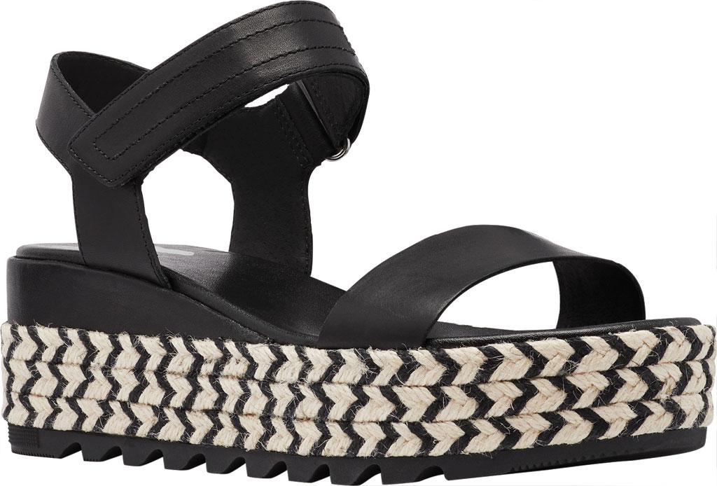 Women's Sorel Cameron Flatform Ankle Strap Sandal, Black Full Grain Leather, large, image 1
