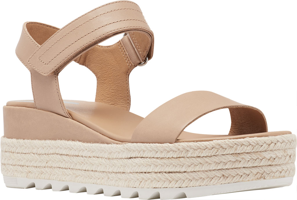Women's Sorel Cameron Flatform Ankle Strap Sandal, Honest Beige Full Grain Leather, large, image 1