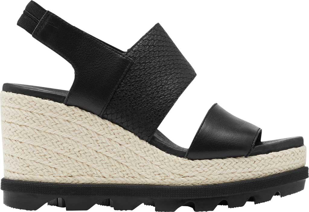 Women's Sorel Joanie II Hi Wedge Slingback, Black Full Grain Leather, large, image 2