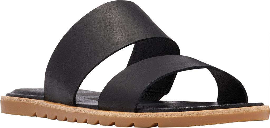 Women's Sorel Ella II Flat Slide, Black Full Grain Leather, large, image 1