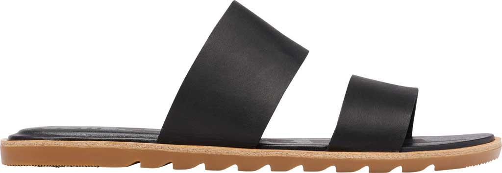 Women's Sorel Ella II Flat Slide, Black Full Grain Leather, large, image 2