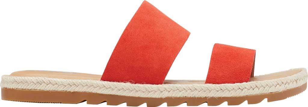 Women's Sorel Ella II Flat Slide, Signal Red Suede, large, image 2