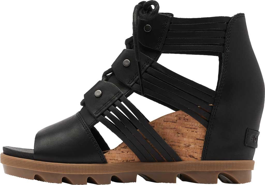 Women's Sorel Joanie II Lace Huarache Wedge Sandal, Black Full Grain Leather, large, image 3