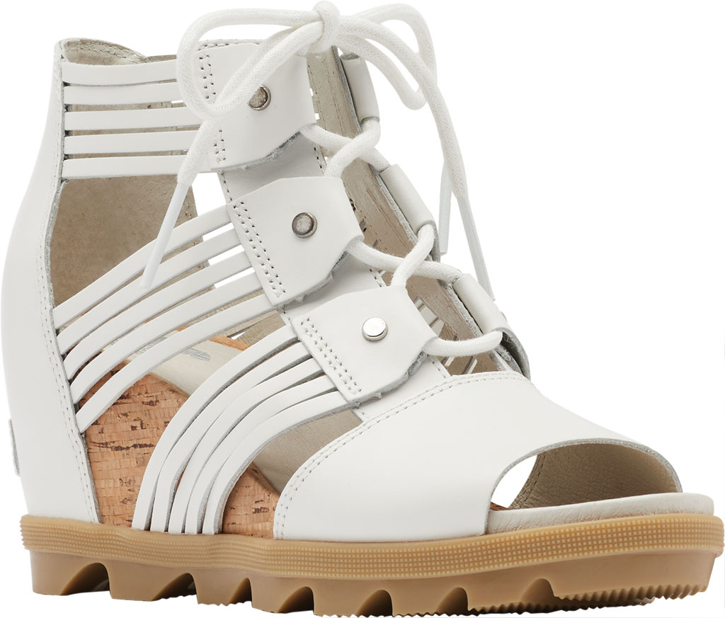 Women's Sorel Joanie II Lace Huarache Wedge Sandal, Sea Salt Full Grain Leather, large, image 1