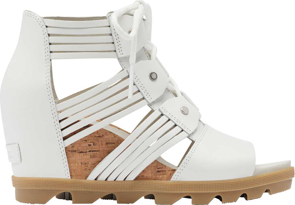 Women's Sorel Joanie II Lace Huarache Wedge Sandal, Sea Salt Full Grain Leather, large, image 2