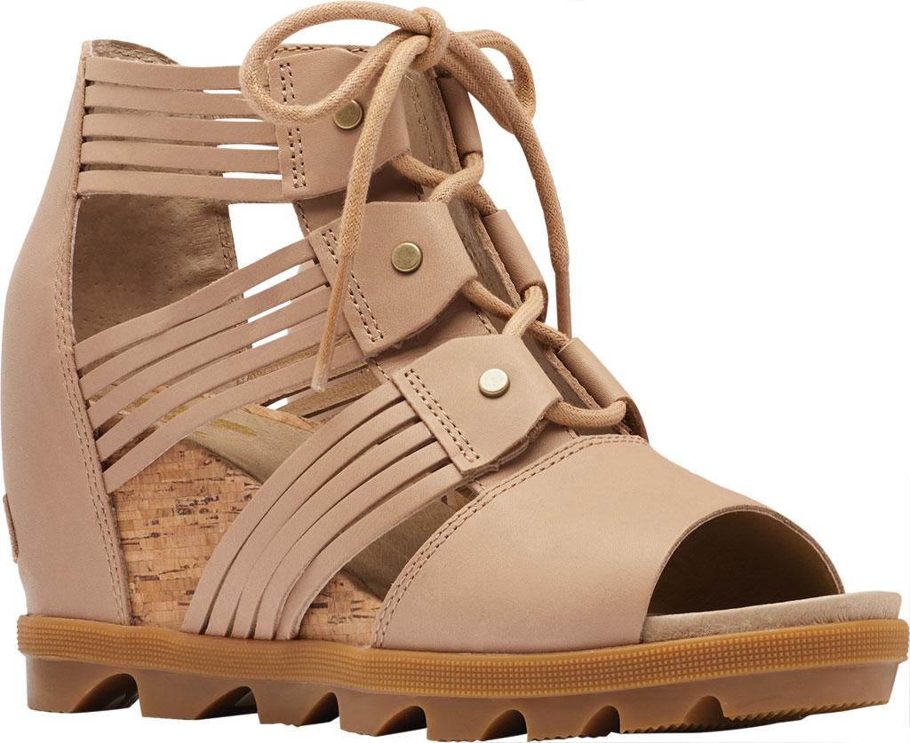 Women's Sorel Joanie II Lace Huarache Wedge Sandal, Honest Beige Full Grain Leather, large, image 1