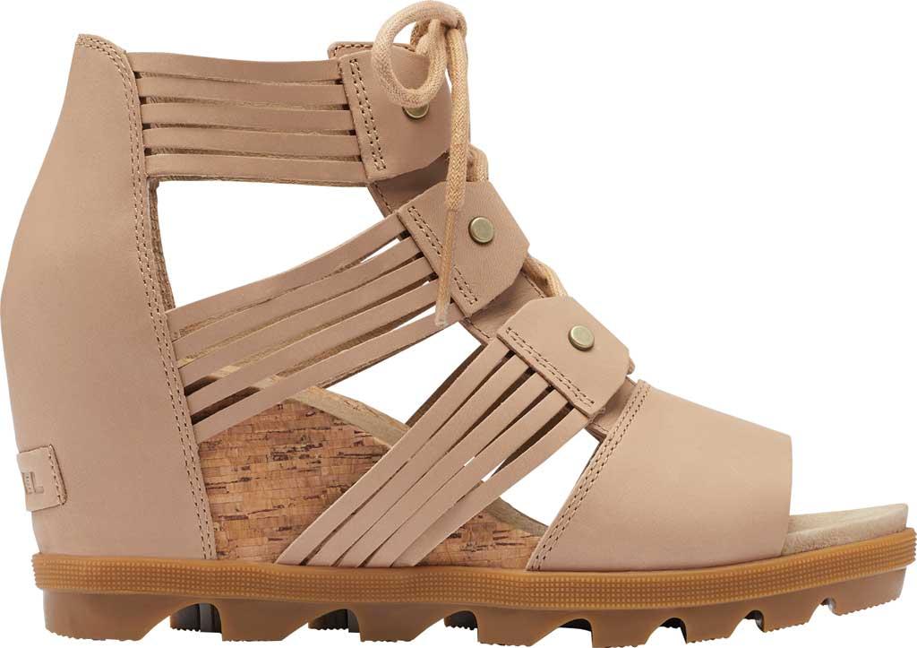 Women's Sorel Joanie II Lace Huarache Wedge Sandal, Honest Beige Full Grain Leather, large, image 2