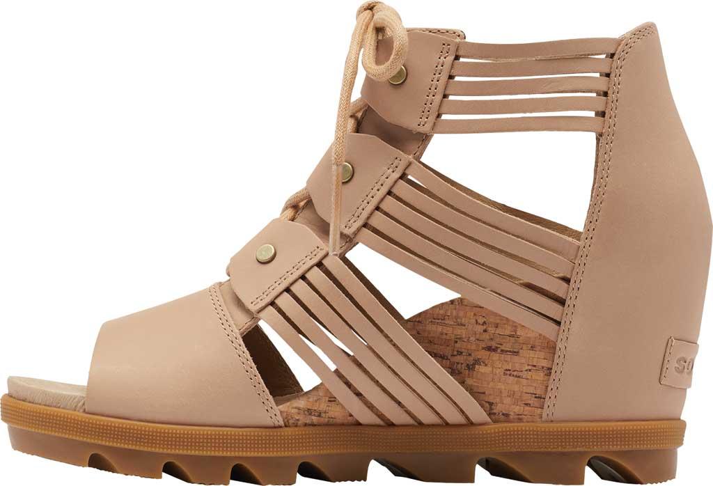Women's Sorel Joanie II Lace Huarache Wedge Sandal, Honest Beige Full Grain Leather, large, image 3