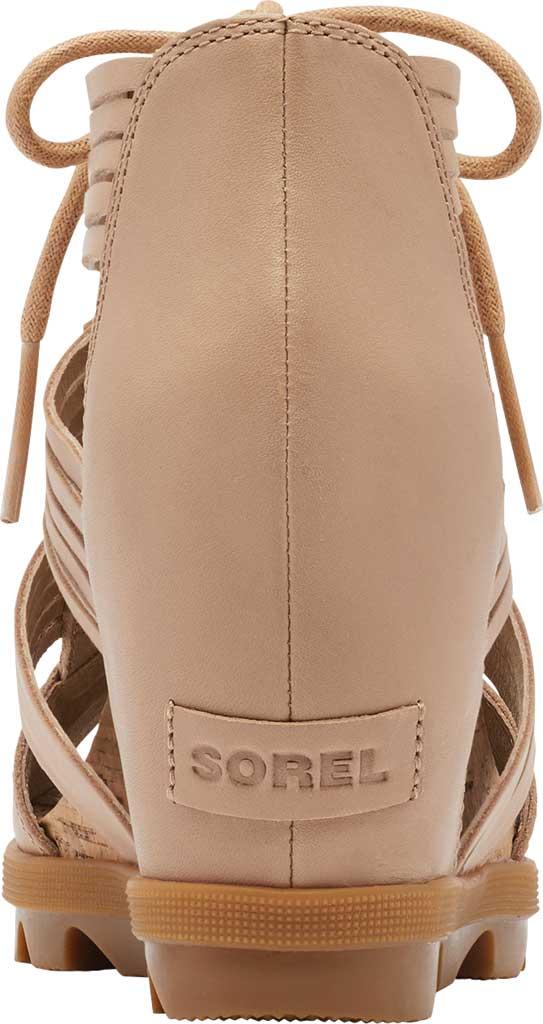 Women's Sorel Joanie II Lace Huarache Wedge Sandal, Honest Beige Full Grain Leather, large, image 4