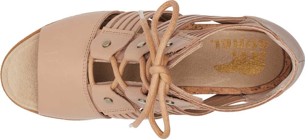 Women's Sorel Joanie II Lace Huarache Wedge Sandal, Honest Beige Full Grain Leather, large, image 5
