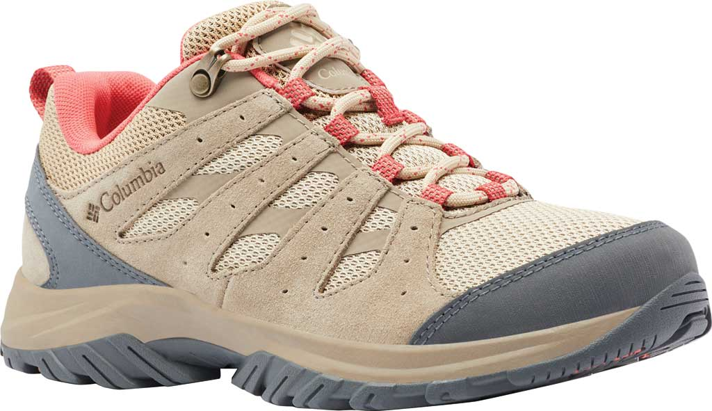 Women's Columbia Redmond III Hiking Shoe, Oatmeal/Red Coral, large, image 1