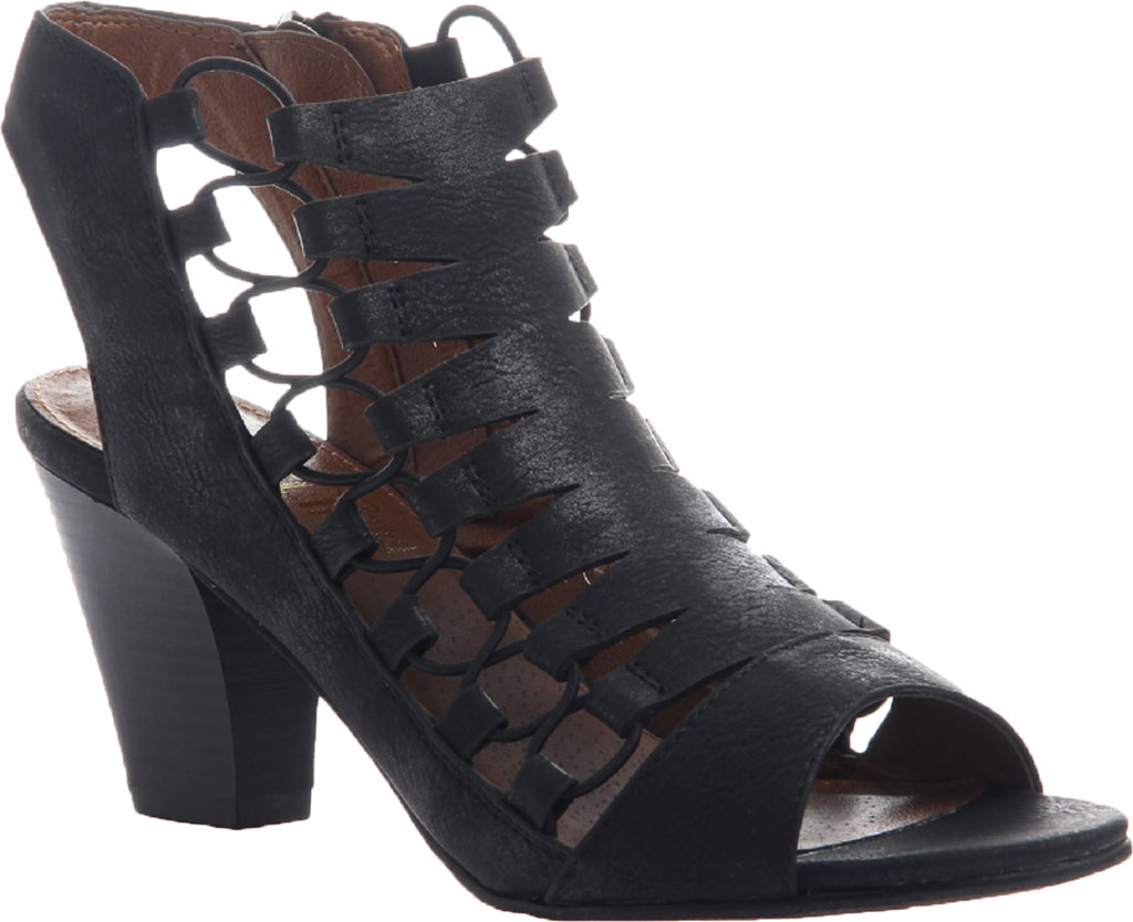 Women's Madeline Winning Cut Out Sandal, Black Synthetic, large, image 1