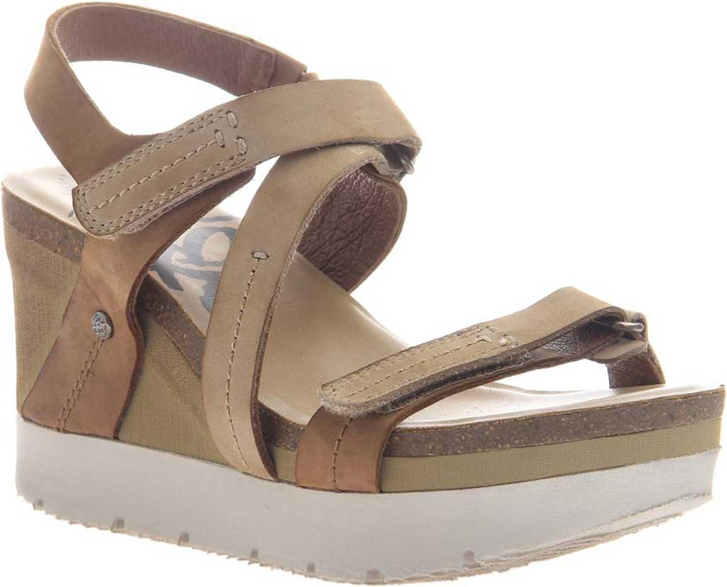 Women's OTBT Wavey Strappy Wedge, Mid Brown Leather, large, image 1