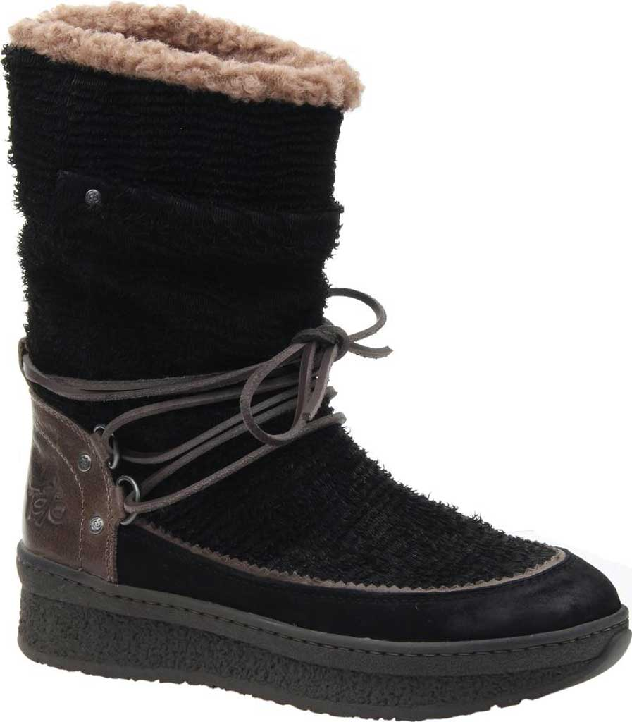 Women's OTBT Slope Cold Weather Boot, Black Textured Leather, large, image 1