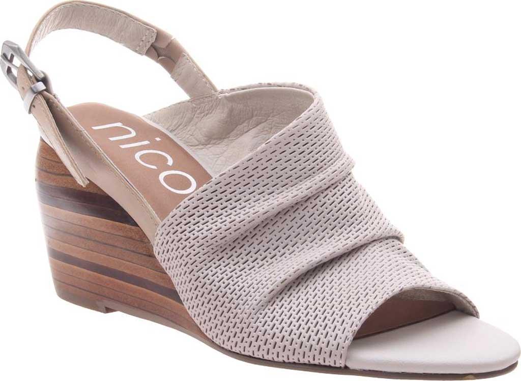 Women's Nicole Aziza Slingback Wedge Sandal, Dove Grey Leather, large, image 1