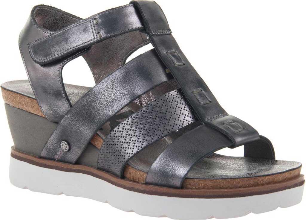 Women's OTBT New Moon Gladiator Sandal, New Black Metallic Textured Leather, large, image 1