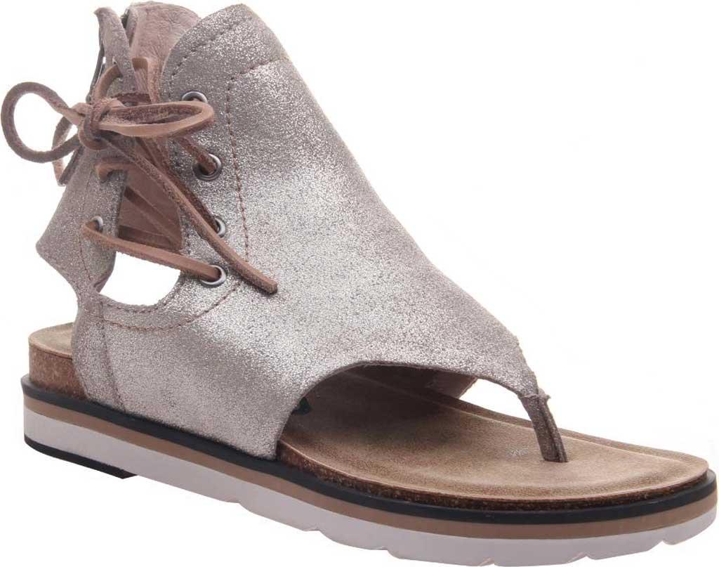 Women's OTBT Locate Thong Sandal, Grey/Silver Metallic Genuine Leather, large, image 1