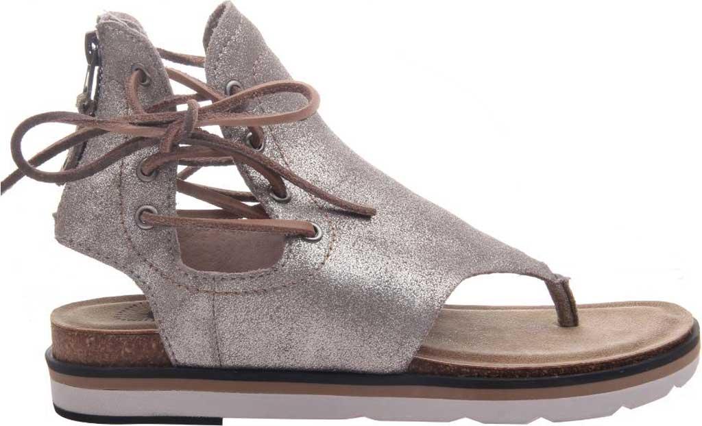 Women's OTBT Locate Thong Sandal, Grey/Silver Metallic Genuine Leather, large, image 2
