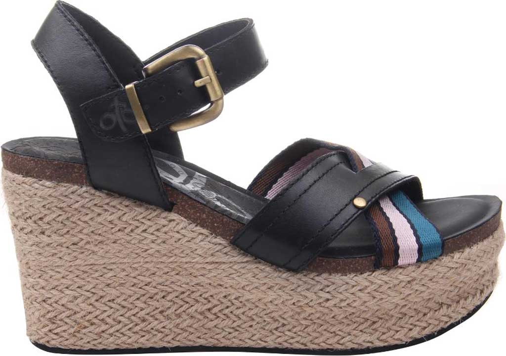 Women's OTBT Topsail Wedge Sandal, New Black Leather/Fabric, large, image 2
