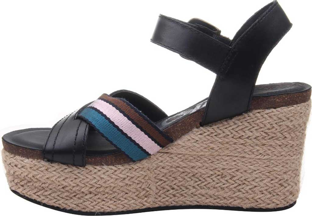 Women's OTBT Topsail Wedge Sandal, New Black Leather/Fabric, large, image 3