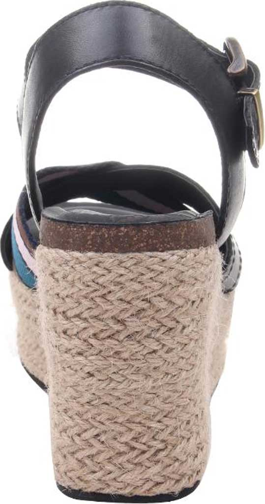 Women's OTBT Topsail Wedge Sandal, New Black Leather/Fabric, large, image 4