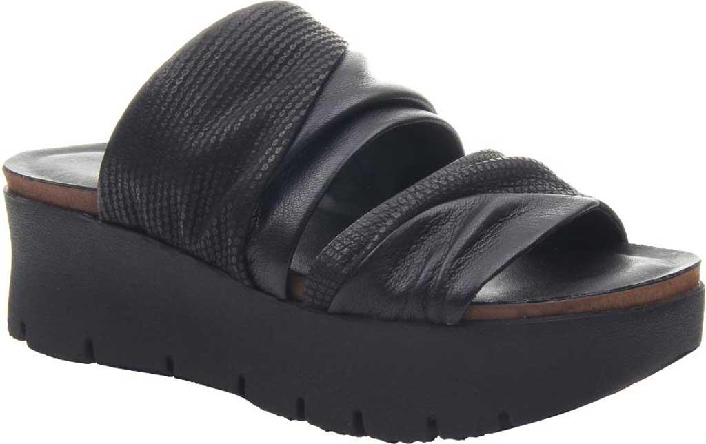 Women's OTBT Weekend Platform Slide, Black Leather, large, image 1