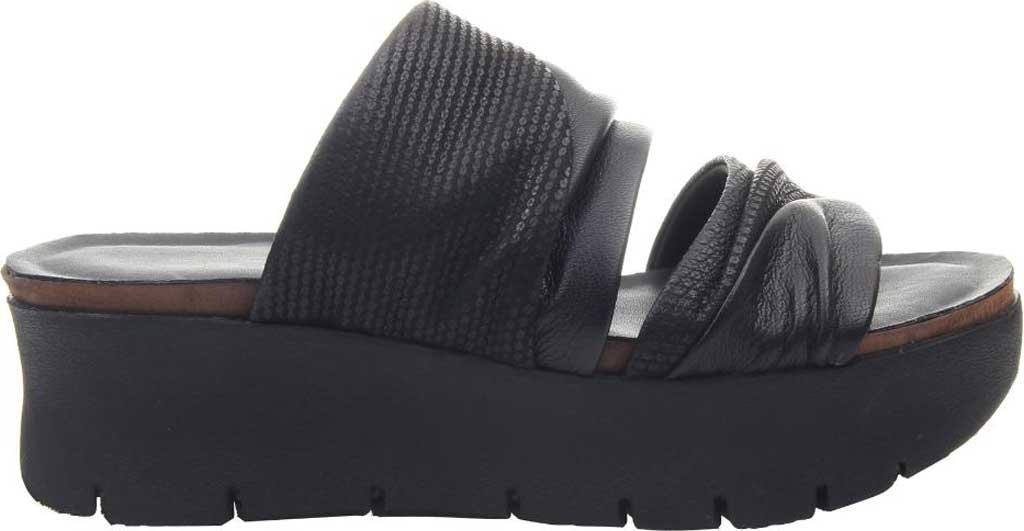 Women's OTBT Weekend Platform Slide, Black Leather, large, image 2