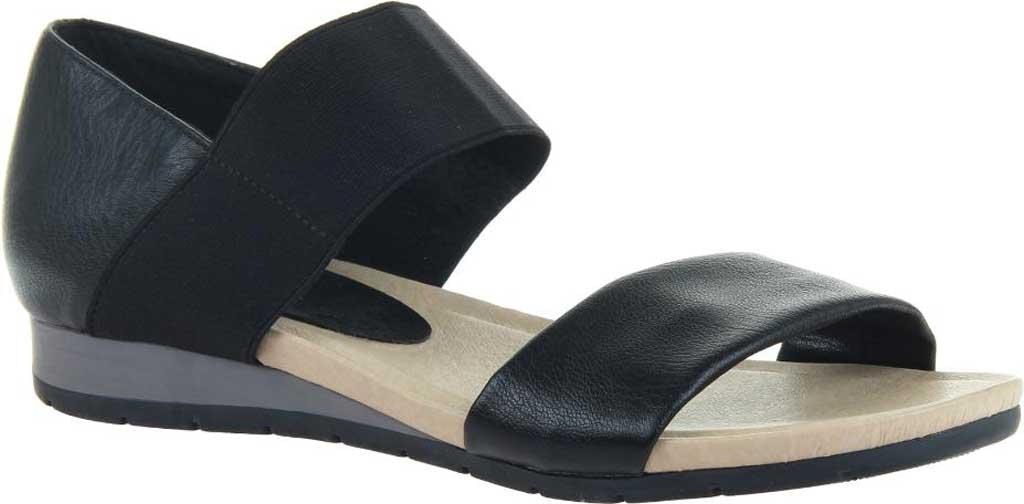 Women's Madeline Motto Double Strap Sandal, Black Synthetic/Textile, large, image 1