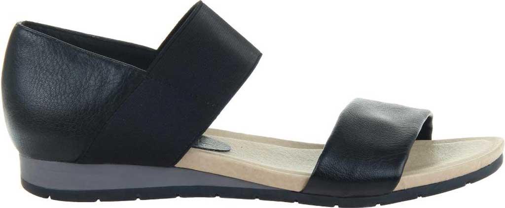 Women's Madeline Motto Double Strap Sandal, Black Synthetic/Textile, large, image 2