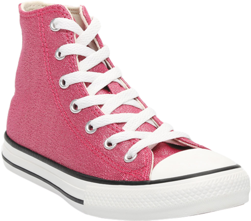 Children's Converse Chuck Taylor Glitter Textile High Top, Cerise Pink/Natural Ivory Glitter Textile/Fabric, large, image 1