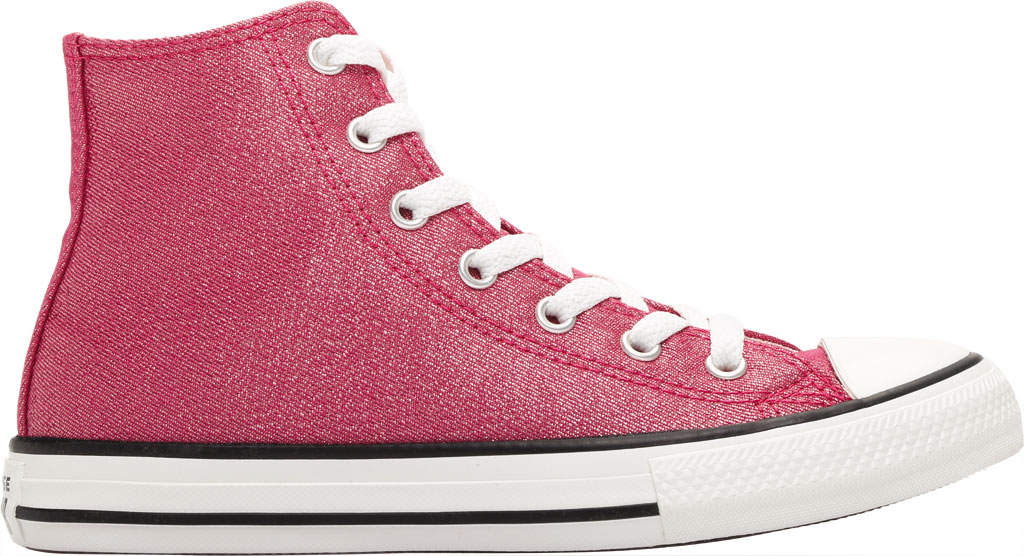 Children's Converse Chuck Taylor Glitter Textile High Top, Cerise Pink/Natural Ivory Glitter Textile/Fabric, large, image 2