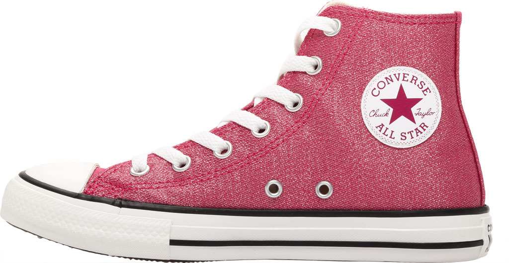 Children's Converse Chuck Taylor Glitter Textile High Top, Cerise Pink/Natural Ivory Glitter Textile/Fabric, large, image 3