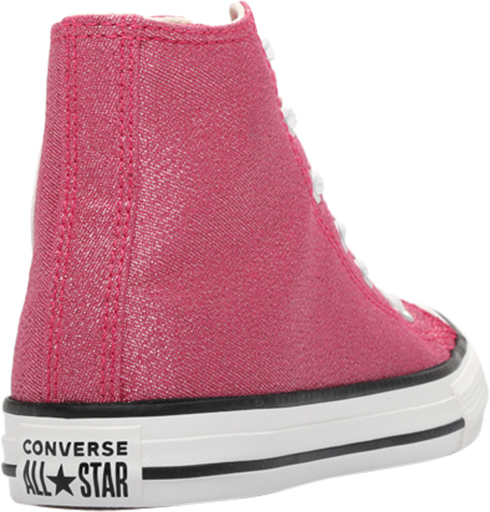 Children's Converse Chuck Taylor Glitter Textile High Top, Cerise Pink/Natural Ivory Glitter Textile/Fabric, large, image 4