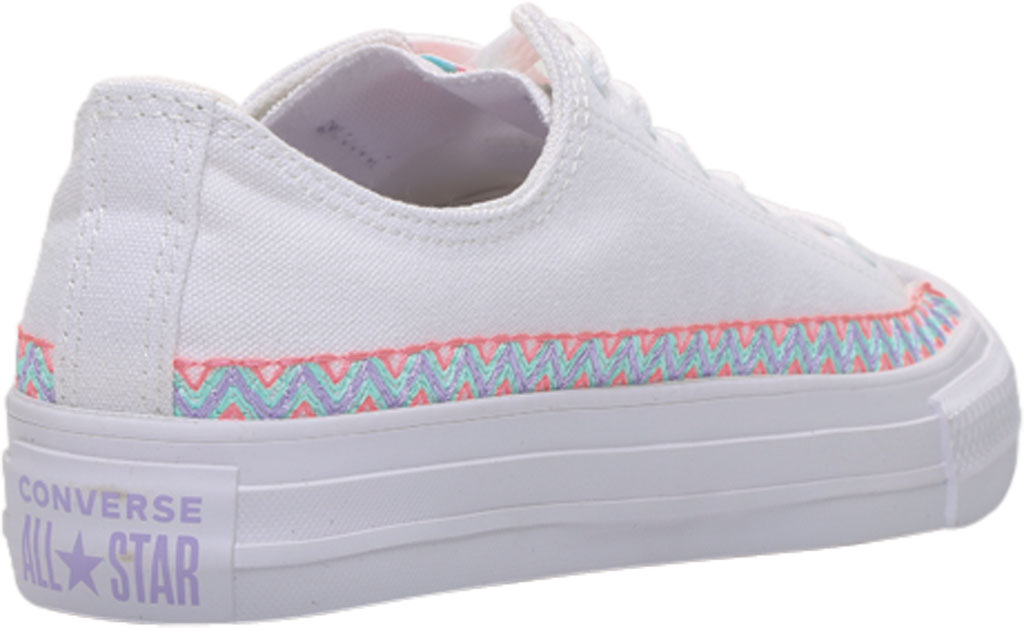 Children's Converse Chuck Taylor Friendship Canvas Sneaker, White/Moonstone Violet/White Canvas/Fabric, large, image 4