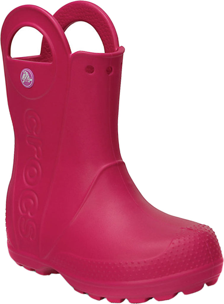 Infant Crocs Handle It Rain Boot Child, Candy Pink, large, image 1