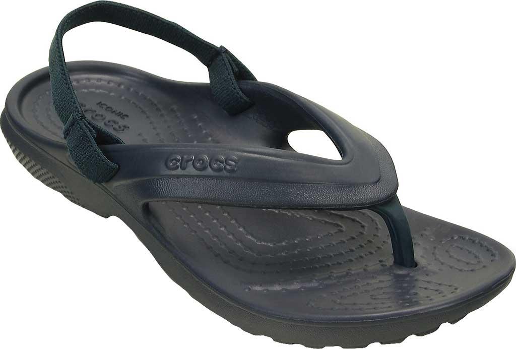 Infant Crocs Classic Flip Flop Sandal Kids, Navy, large, image 1