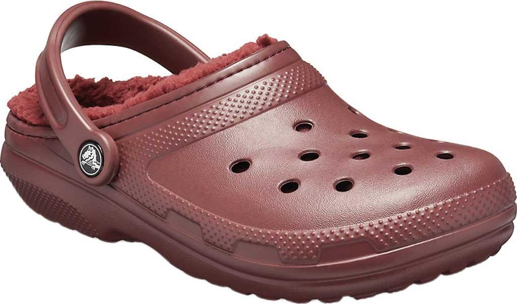 Crocs Classic Lined Clog, Burgundy/Burgundy, large, image 1