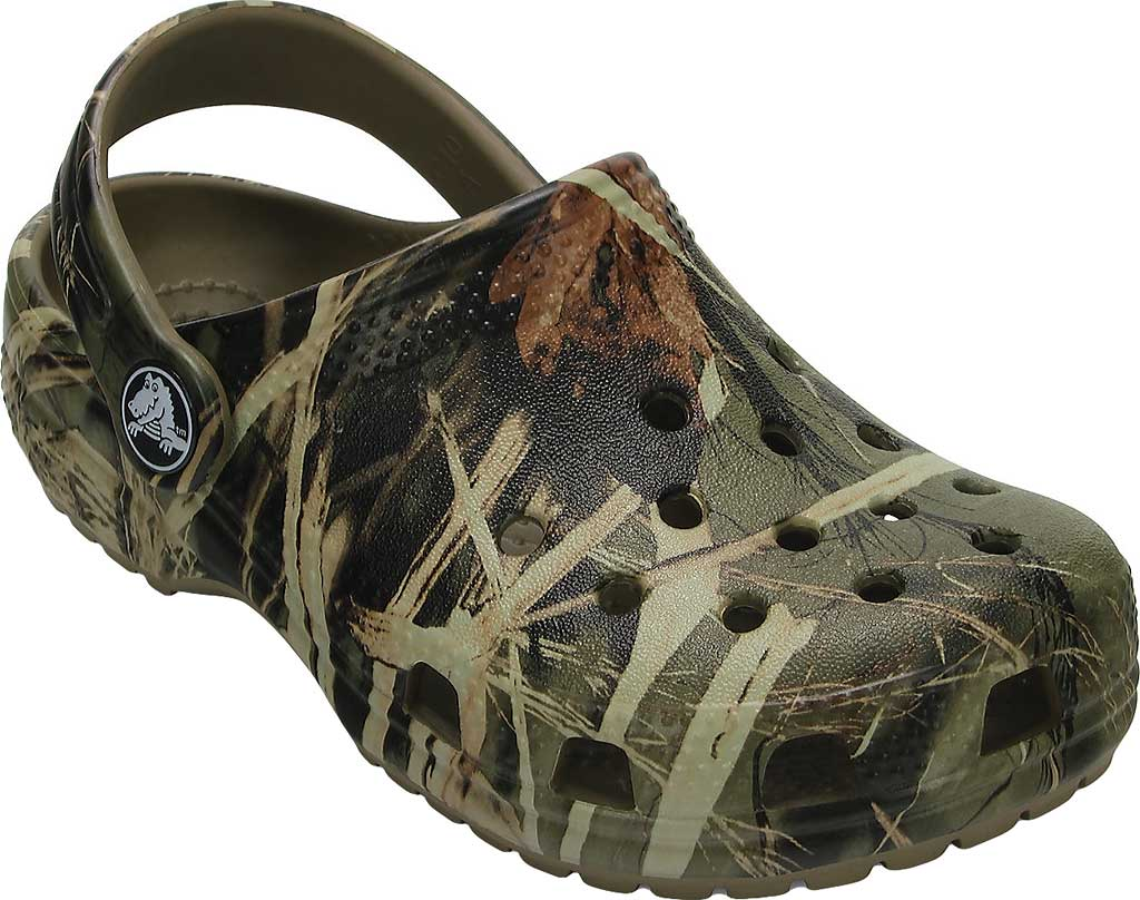 Children's Crocs Classic Realtree Clog Juniors, Khaki, large, image 1