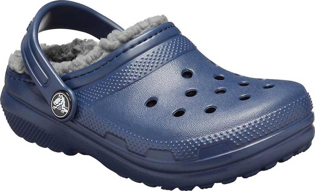 Children's Crocs Classic Fuzz Lined Clog Juniors, Navy/Charcoal, large, image 1
