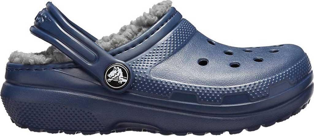 Children's Crocs Classic Fuzz Lined Clog Juniors, Navy/Charcoal, large, image 2