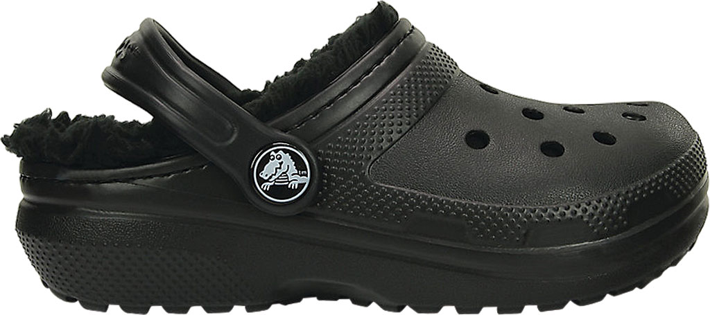 Infant Crocs Classic Fuzz Lined Clog Kids, Black/Black, large, image 2