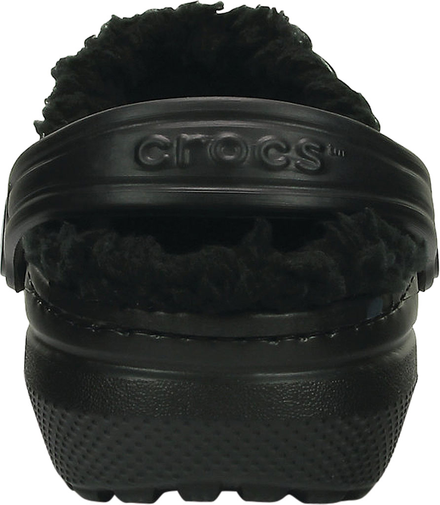 Infant Crocs Classic Fuzz Lined Clog Kids, Black/Black, large, image 3