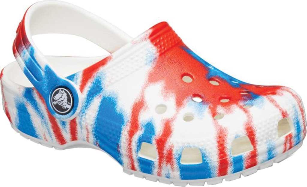 Infant Crocs Classic Tie Dye Graphic Clog Kids, Multi/White, large, image 1