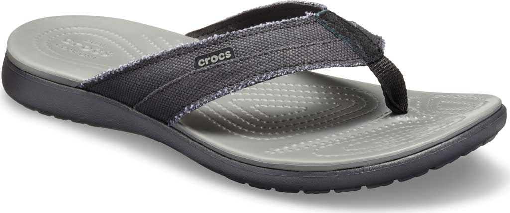 Men's Crocs Santa Cruz Canvas Flip Flop, Black/Slate Grey, large, image 1