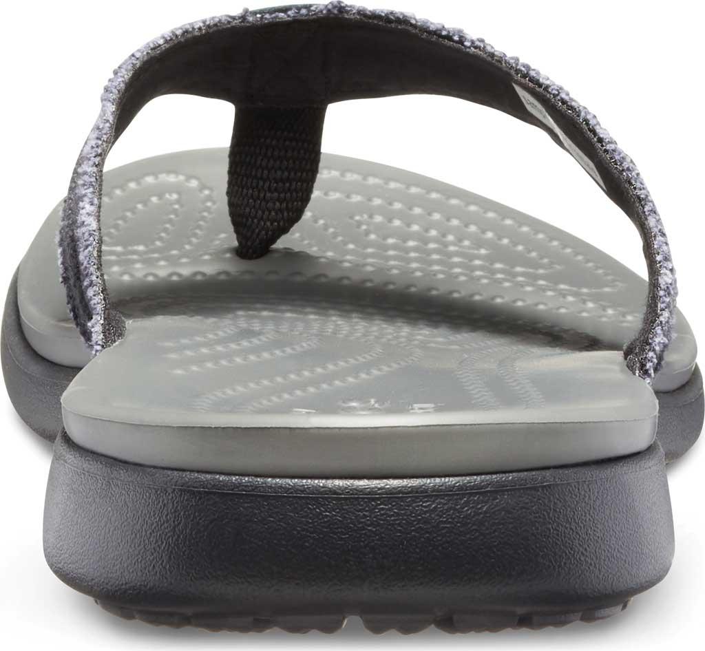 Men's Crocs Santa Cruz Canvas Flip Flop, Black/Slate Grey, large, image 3