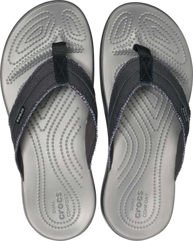 Men's Crocs Santa Cruz Canvas Flip Flop, Black/Slate Grey, large, image 4
