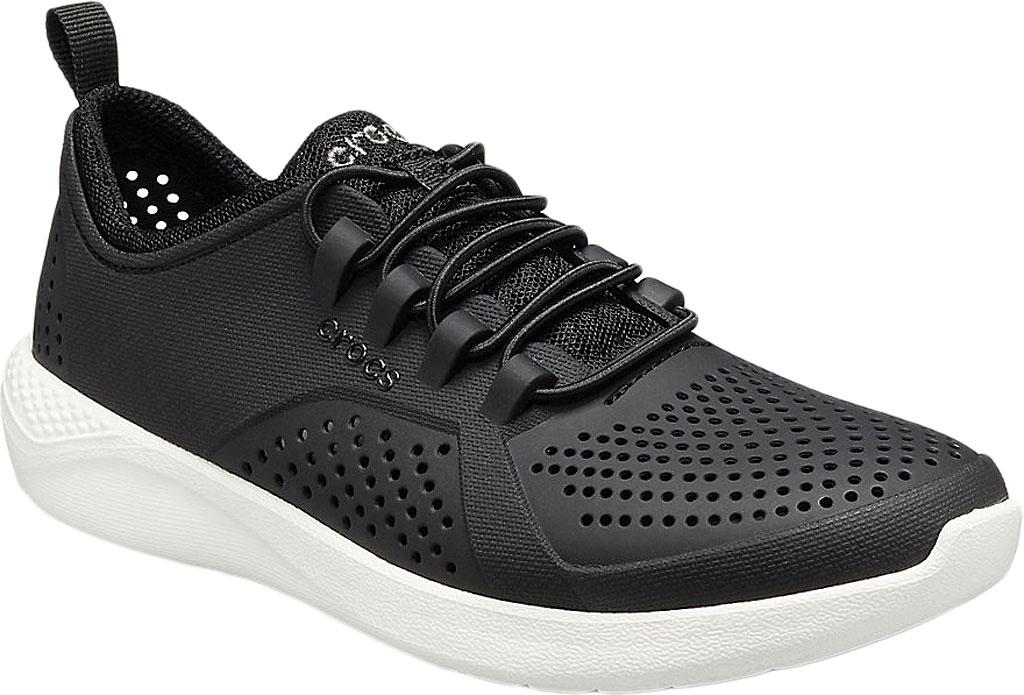 Children's Crocs LiteRide Pacer Sneaker Junior, Black/White, large, image 1