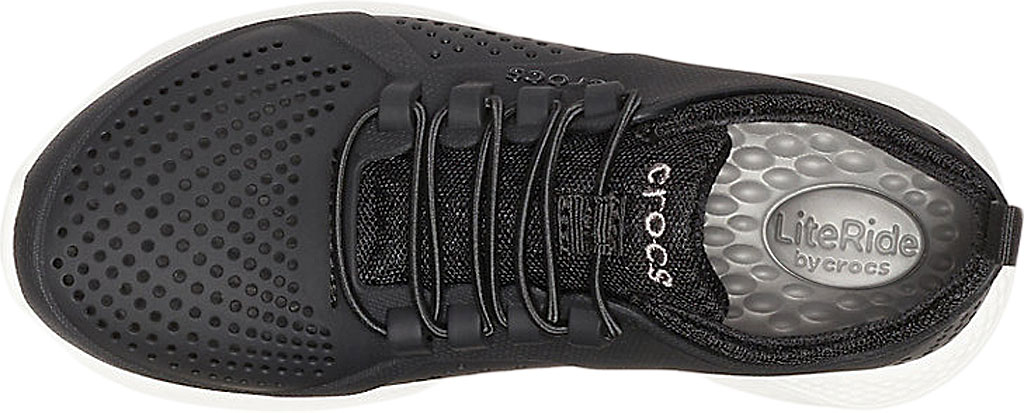 Children's Crocs LiteRide Pacer Sneaker Junior, Black/White, large, image 4