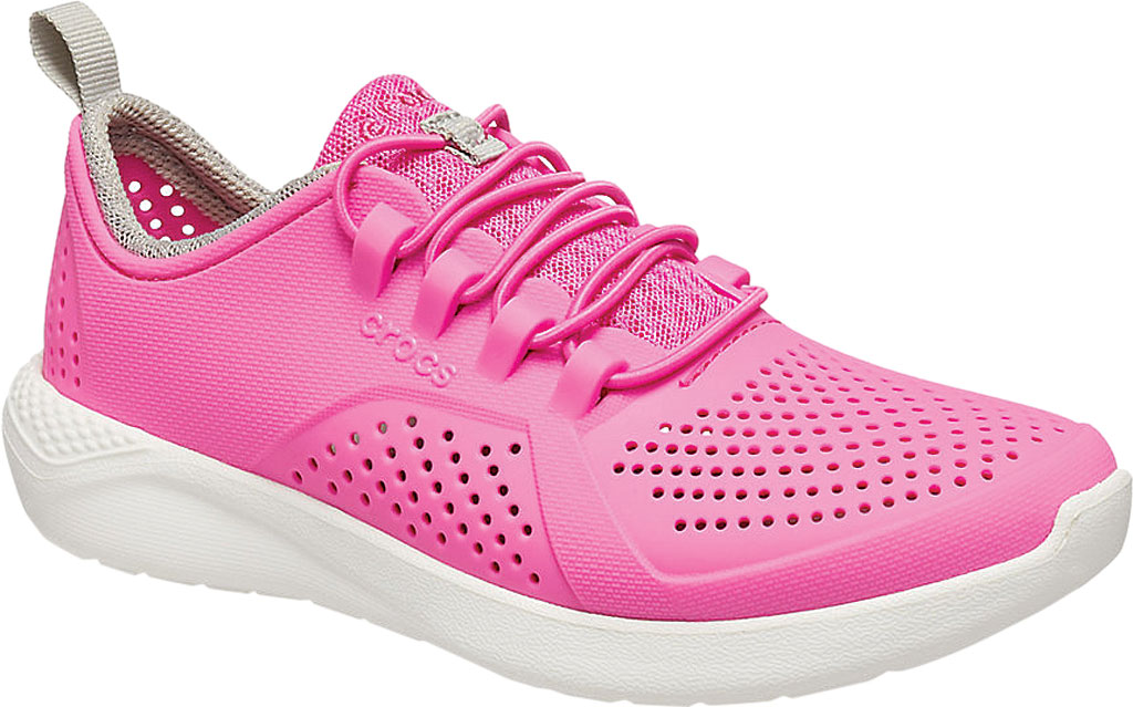 Children's Crocs LiteRide Pacer Sneaker Junior, Electric Pink/White, large, image 1