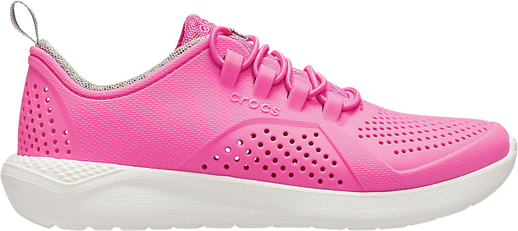 Children's Crocs LiteRide Pacer Sneaker Junior, Electric Pink/White, large, image 2